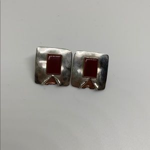 artisan Silver copper red jasper stud earrings